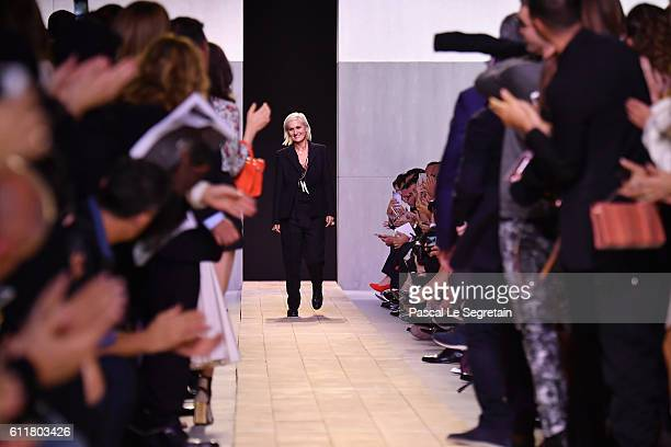 Maria Grazia Chiuri poses at the end of her first Christian Dior show as part of the Paris Fashion Week Womenswear Spring/Summer 2017 on September 30...