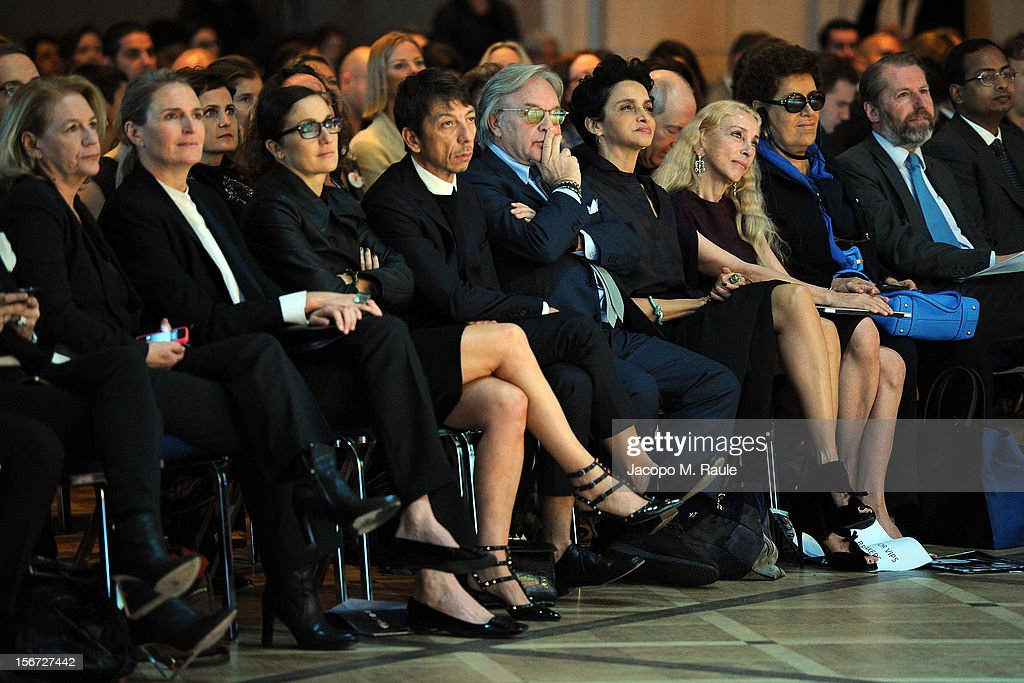 Maria Grazia Chiuri, Valentino Creative Dirtector, Pierpaolo Piccioli, Valentino Creative Dirtector, Diego Della Valle, Tod's S.p.A. Chairman and CEO, Farida Khelfa, Maison Schiaparelli Ambassador, Franca Sozzani, Editor-in-Chief of Vogue Italia, Carla Fendi, Guillaume de Seynes, Hermes International Managing Director, and guests look on during the third day of the 2012 International Herald Tribune's Luxury Business Conference held at Rome Cavalieri on November 16, 2012 in Rome, Italy. The 12th annual IHT Luxury conference is the premier meeting point for the luxury industry. 500 delegates from 30 countries have gathered in Rome to hear from the world's most inspirational fashion designers and luxury business leaders.