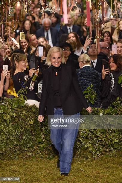 Maria Grazia Chiuri walks the runway after the Christian Dior Spring Summer 2017 show as part of Paris Fashion Week on January 23 2017 in Paris France