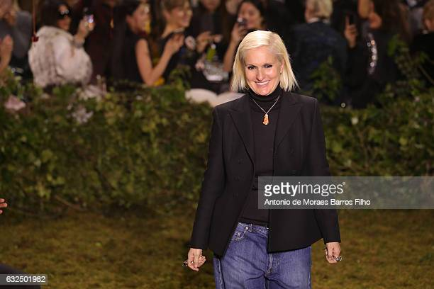 Maria Grazia Chiuri walks the runway during the Christian Dior Haute Couture Spring Summer 2017 show as part of Paris Fashion Week on January 23 2017...