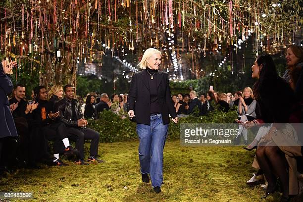Maria Grazia Chiuri walks the runway during the Christian Dior Spring Summer 2017 show as part of Paris Fashion Week on January 23 2017 in Paris...