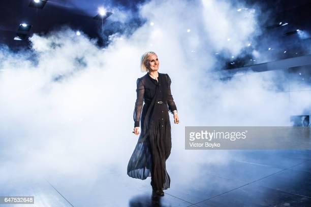 Maria Grazia Chiuri walks the runway during the finale of Christian Dior show as part of the Paris Fashion Week Womenswear Fall/Winter 2017/2018 on...