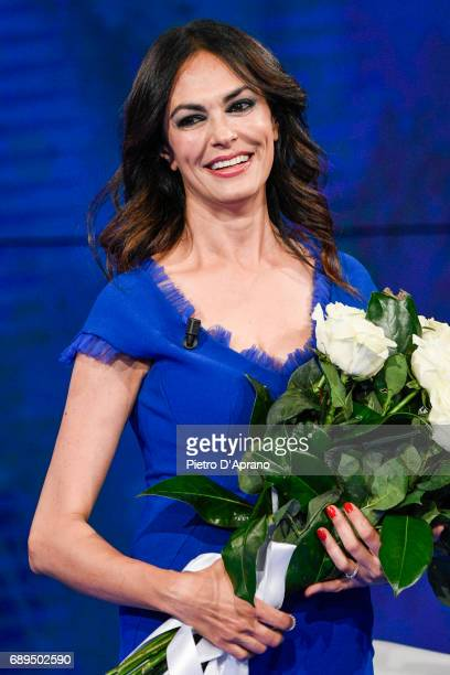 Maria Grazia Cucinotta attends 'Che Tempo Che Fa' tv show at Rai Milan Studios on May 28 2017 in Milan Italy