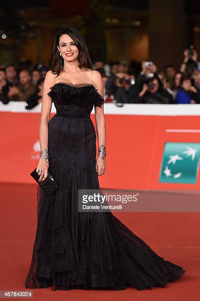 Maria Grazia Cucinotta attends the awards ceremony red carpet during the 9th Rome Film Festival at Auditorium Parco Della Musica on October 25 2014...