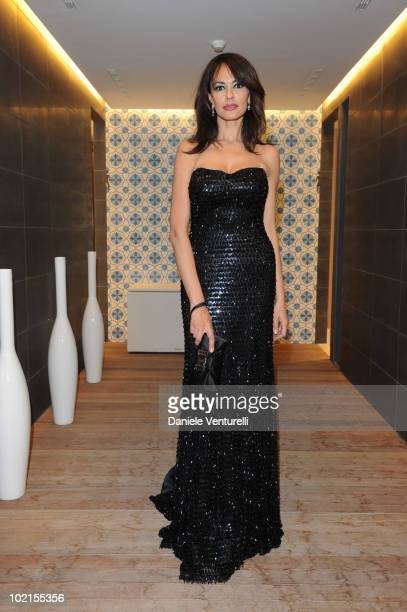 Maria Grazia Cucinotta attends the Dinner For Maria Grazia Cucinotta during the Taormina Film Fest 2010 on June 16 2010 in Taormina Italy