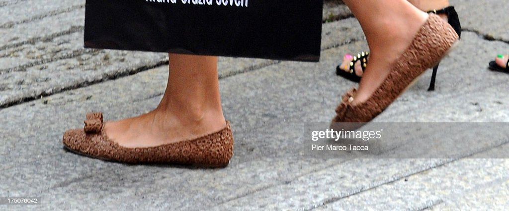 Maria Grazia Cucinotta (detail) is sighted in via Montenapoleone on July 29, 2013 in Milan, Italy.