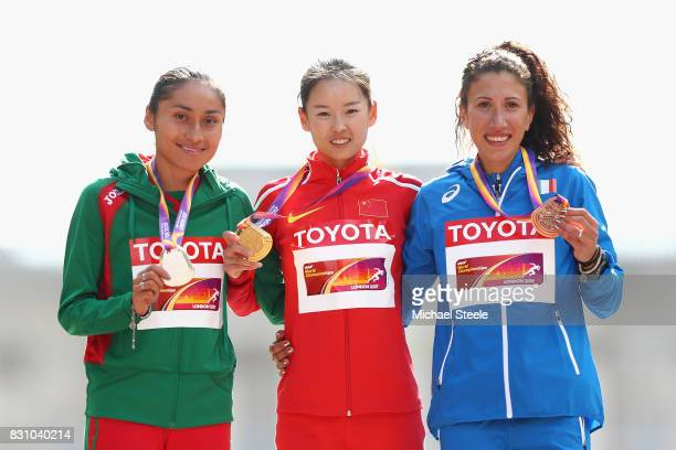 Maria Guadalupe Gonzalez silver Jiayu Yang of China gold and Antonella Palmisano of Italy bronze pose with their medals after the Women's 20...