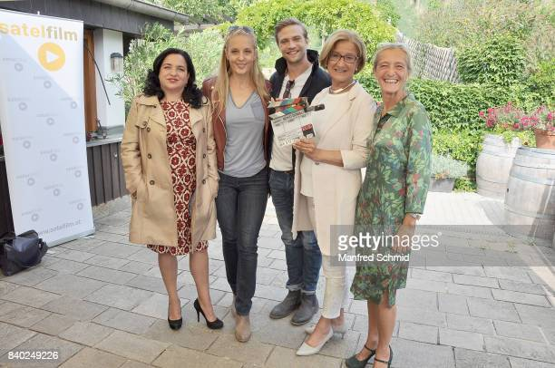 Maria Happel Lilian Klebow Michael Steinocher Johanna MiklLeitner and Kathrin Zechner pose during a 'Soko Wien' photo call at Heuriger TratWieser on...