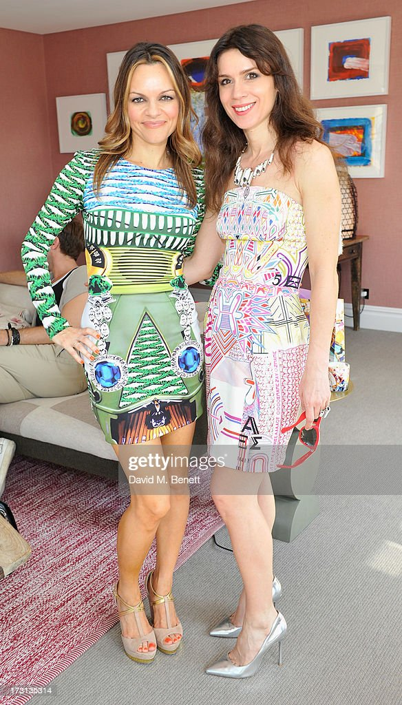 Maria Hatzistefanis and Lara Bohinc attend Mary Katrantzou for Rodial candle launch party at Soho Hotel on July 8, 2013 in London, England.