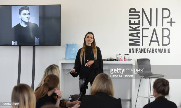 Maria Hatzistefanis attends the Mario Dedivanovic Maria Hatzistefanis launch of NIPFAB Makeup with model Chloe Lloyd on March 20 2017 in London...