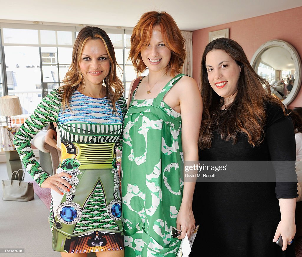 Maria Hatzistefanis, Sophie Beresiner and Mary Katrantzou attend Mary Katrantzou for Rodial candle launch party at Soho Hotel on July 8, 2013 in London, England.