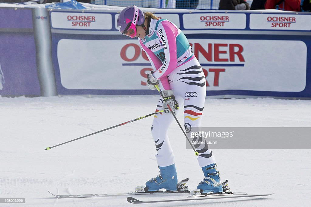 Maria Hoefl Riesch of Germany reacts in the finish area of the Audi FIS Alpine Ski World Giant Slalom race on December 9 2012 in St Moritz, Switzerland.