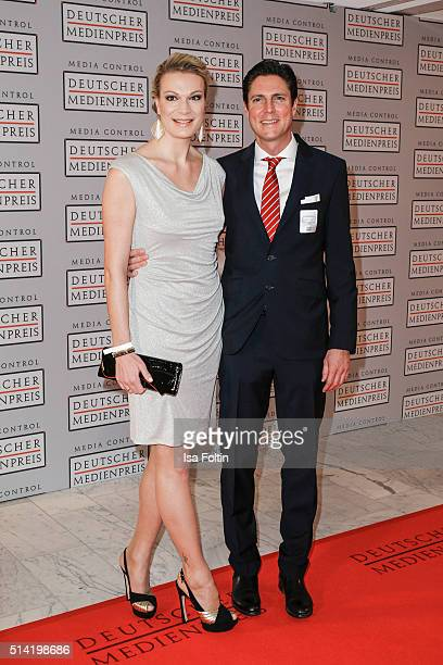 Maria HoeflRiesch and her husband Marcus Hoefl attend the German Media Award 2016 on March 07 2016 in BadenBaden Germany