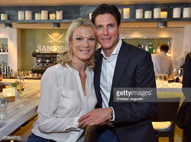 Maria HoeflRiesch and husband Marcus Hoefl attends performance of Udo Lindenberg at the new 'Sansibar' on board of the MS Europa 2 on April 24 2015...