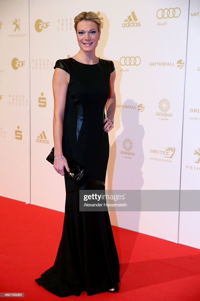 Maria Hoefl-Riesch arrives for the Sportler des Jahres 2014 (German Athlete of the Year) gala at the Kurhaus Baden-Baden on December 21, 2014 in Baden-Baden, Germany.