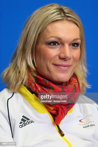 Maria HoeflRiesch looks on during the German Alpine Team press conference at the Gorki Press Centre in the Rosa Khutor Mountain Cluster on February...