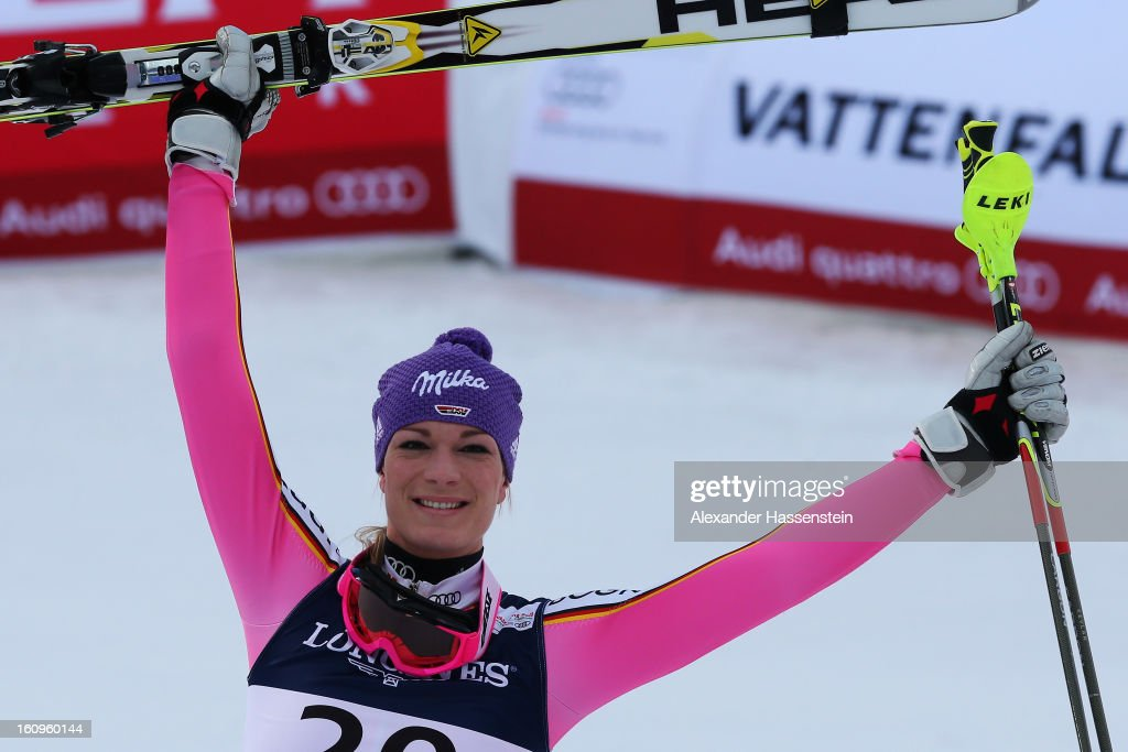 Maria Hoefl-Riesch of Germany celebrates in the finish area winning the Women's Super Combined during the Alpine FIS Ski World Championships on February 8, 2013 in Schladming, Austria.