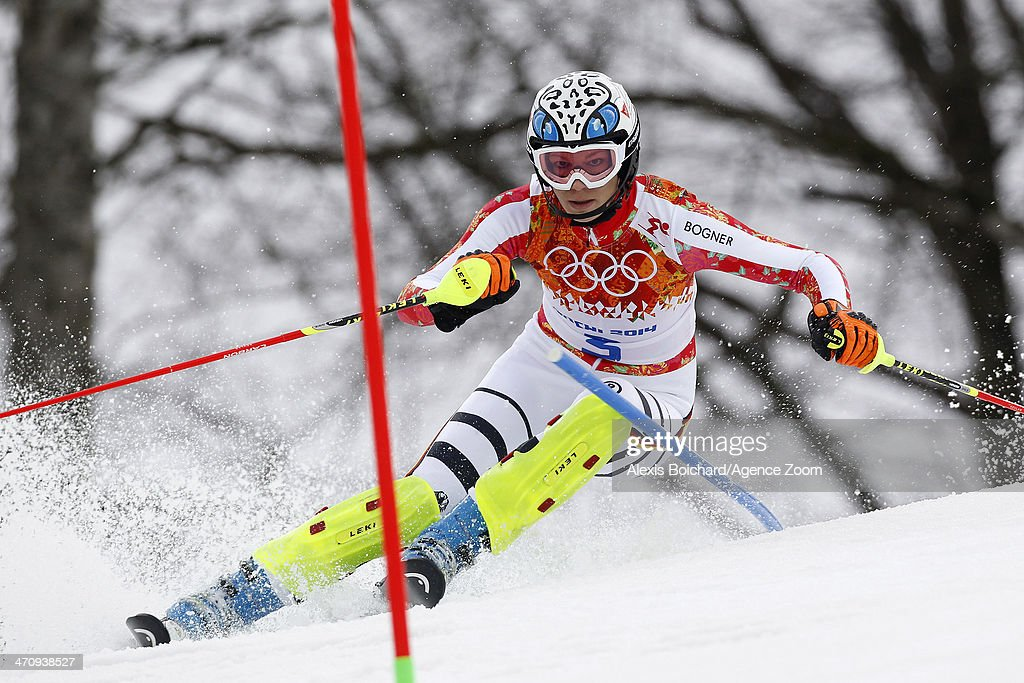 <a gi-track='captionPersonalityLinkClicked' href=/galleries/search?phrase=Maria+Hoefl-Riesch&family=editorial&specificpeople=7648886 ng-click='$event.stopPropagation()'>Maria Hoefl-Riesch</a> of Germany competes during the Alpine Skiing Women's Slalom at the Sochi 2014 Winter Olympic Games at Rosa Khutor Alpine Centre on February 21, 2014 in Sochi, Russia.