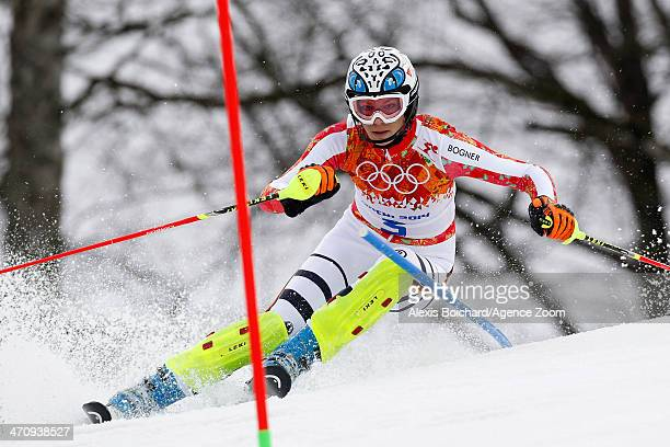 Maria HoeflRiesch of Germany competes during the Alpine Skiing Women's Slalom at the Sochi 2014 Winter Olympic Games at Rosa Khutor Alpine Centre on...