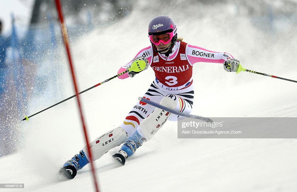 Maria Hoefl-Riesch of Germany competes during the Audi FIS Alpine Ski World Cup Women's Slalom on November 10, 2012 in Levi, Finland.