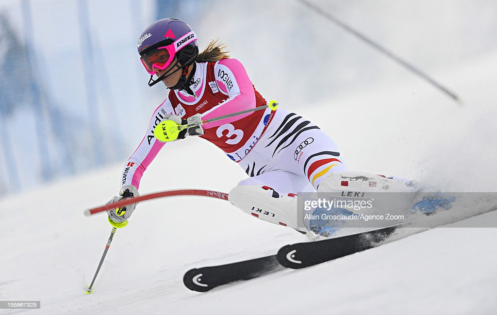 <a gi-track='captionPersonalityLinkClicked' href=/galleries/search?phrase=Maria+Hoefl-Riesch&family=editorial&specificpeople=7648886 ng-click='$event.stopPropagation()'>Maria Hoefl-Riesch</a> of Germany competes during the Audi FIS Alpine Ski World Cup Women's Slalom on November 10, 2012 in Levi, Finland.