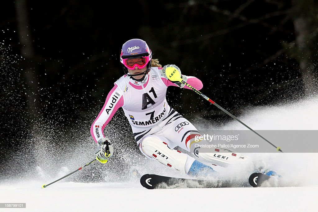 Maria Hoefl-Riesch of Germany competes during the Audi FIS Alpine Ski World Cup Women's Slalom on December 29, 2012 in Semmering, Austria.