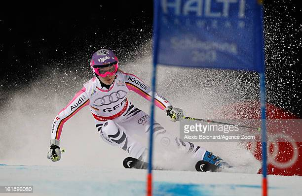 Maria HoeflRiesch of Germany competes during the Audi FIS Alpine Ski World Championships Nation's Team Event on February 12 2013 in Schladming Austria