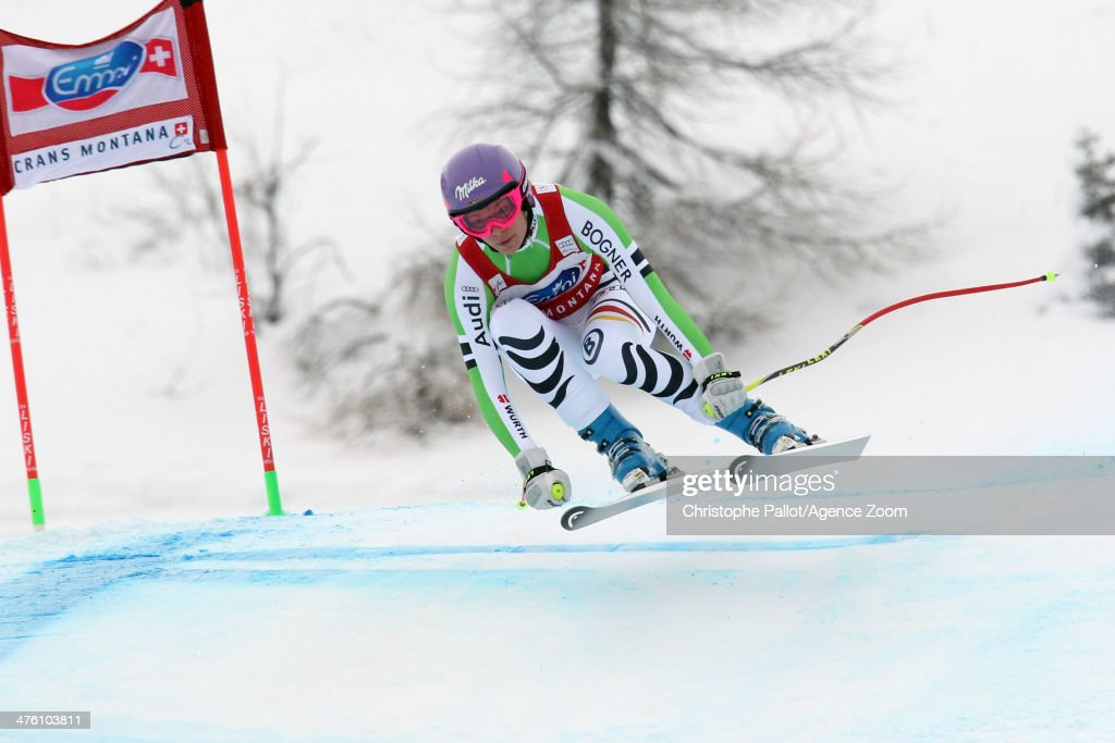 <a gi-track='captionPersonalityLinkClicked' href=/galleries/search?phrase=Maria+Hoefl-Riesch&family=editorial&specificpeople=7648886 ng-click='$event.stopPropagation()'>Maria Hoefl-Riesch</a> of Germany competes during the Audi FIS Alpine Ski World Cup Women's Downhill on March 02, 2014 in Crans-Montana, Switzerland.