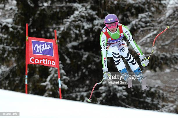 Maria HoeflRiesch of Germany competes during the FIS Alpine Ski World Cup Women's downhill race on January 24 2014 in Cortina d'Ampezzo Italy