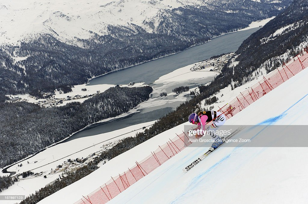Maria Hoefl-Riesch of Germany during the Audi FIS Alpine Ski World Cup Women's Super Combined on December 07, 2012 in St. Moritz, Switzerland.