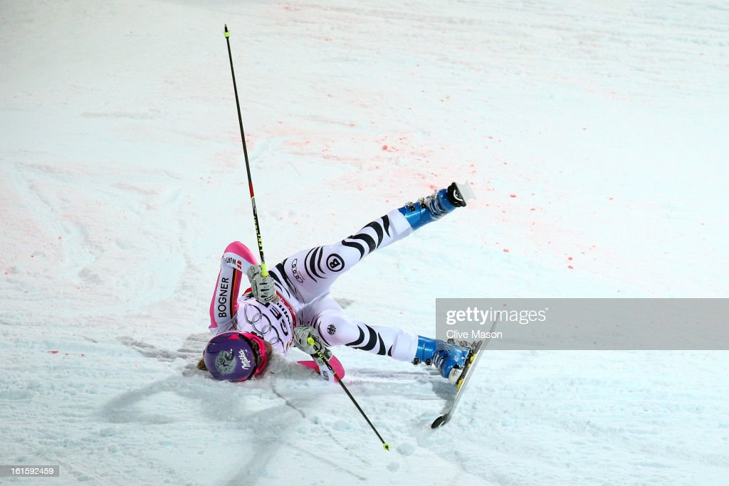<a gi-track='captionPersonalityLinkClicked' href=/galleries/search?phrase=Maria+Hoefl-Riesch&family=editorial&specificpeople=7648886 ng-click='$event.stopPropagation()'>Maria Hoefl-Riesch</a> of Germany falls while skiing in the Men and Women's Nations Team Event during the Alpine FIS Ski World Championships on February 12, 2013 in Schladming, Austria.