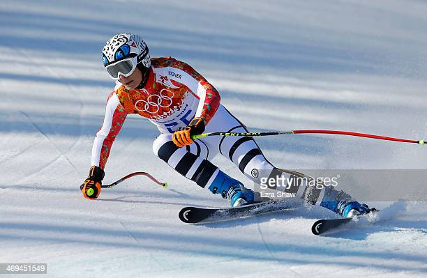 Maria HoeflRiesch of Germany in action during the Alpine Skiing Women's SuperG on day 8 of the Sochi 2014 Winter Olympics at Rosa Khutor Alpine...