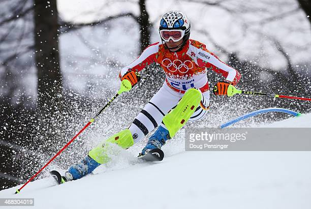 Maria HoeflRiesch of Germany in action during the Alpine Skiing Women's Super Combined Slalom on day 3 of the Sochi 2014 Winter Olympics at Rosa...