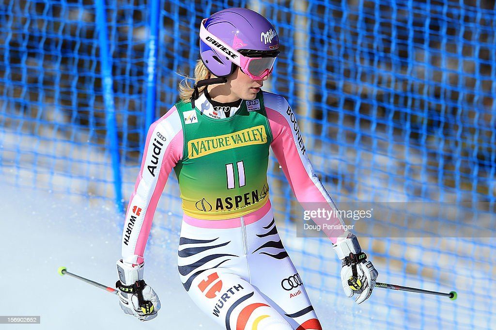 Maria Hoefl-Riesch of Germany leaves the course after missing a gate and failing to finish the first run of the women's giant slalom at the Nature Valley Aspen Winternational Audi FIS Ski World Cup at Aspen Mountain on November 24, 2012 in Aspen, Colorado.