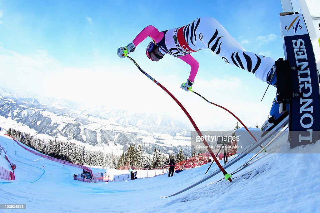 Maria Hoefl-Riesch of Germany leaves the start gate to ski in the Downhill section of the Women's Super Combined during the Alpine FIS Ski World Championships on February 8, 2013 in Schladming, Austria.