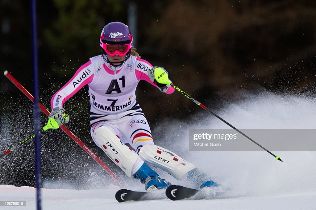 Maria Hoefl-Riesch of Germany races down the course whilst competing in the Audi FIS Alpine Ski World Cup Slalom Race on December 29, 2012 in Semmering, Austria.