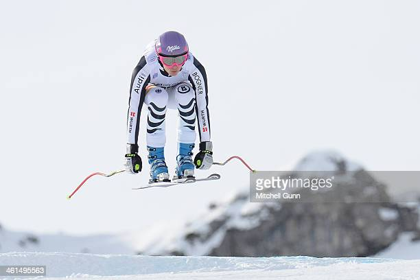 Maria HoeflRiesch of Germany races down the course whilst competing in the FIS Alpine World Cup downhill training on January 09 2014 in Zauchensee...
