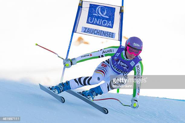 Maria HoeflRiesch of Germany races down the course whilst competing in Super G part of the FIS Alpine World Cup Super Combined race on January 12...
