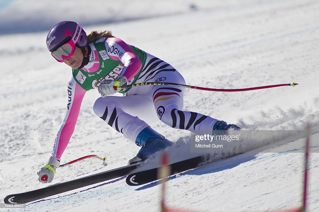 Maria Hoefl-Riesch of Germany races down the Kandahar course while competing in the Audi FIS Alpine Ski World Cup downhill race on January 12, 2013 in St Anton, Austria.