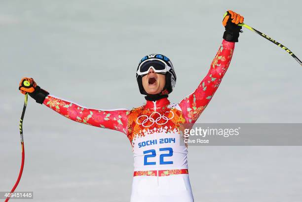 Maria HoeflRiesch of Germany reacts after a run during the Alpine Skiing Women's SuperG on day 8 of the Sochi 2014 Winter Olympics at Rosa Khutor...