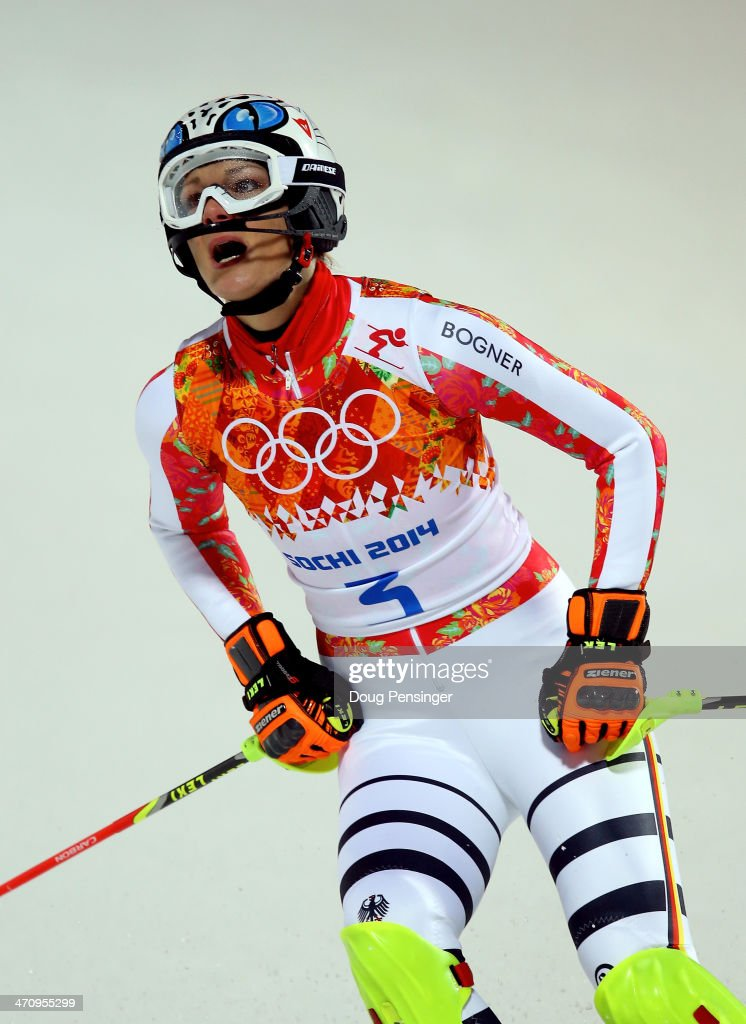 <a gi-track='captionPersonalityLinkClicked' href=/galleries/search?phrase=Maria+Hoefl-Riesch&family=editorial&specificpeople=7648886 ng-click='$event.stopPropagation()'>Maria Hoefl-Riesch</a> of Germany reacts after her second run during the Women's Slalom during day 14 of the Sochi 2014 Winter Olympics at Rosa Khutor Alpine Center on February 21, 2014 in Sochi, Russia.