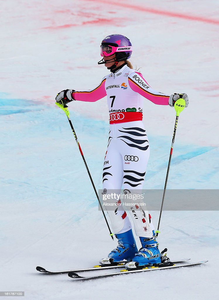 Maria Hoefl-Riesch of Germany reacts after posting a DNF whilst skiing in the Women's Slalom during the Alpine FIS Ski World Championships on February 16, 2013 in Schladming, Austria.