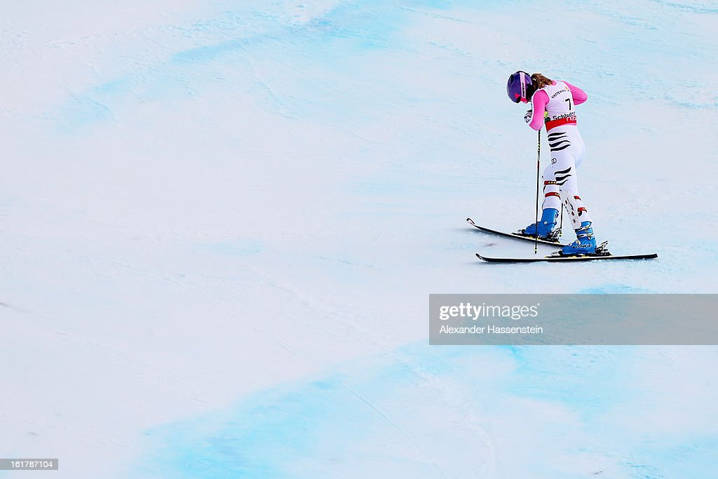<a gi-track='captionPersonalityLinkClicked' href=/galleries/search?phrase=Maria+Hoefl-Riesch&family=editorial&specificpeople=7648886 ng-click='$event.stopPropagation()'>Maria Hoefl-Riesch</a> of Germany reacts after posting a DNF whilst skiing in the Women's Slalom during the Alpine FIS Ski World Championships on February 16, 2013 in Schladming, Austria.