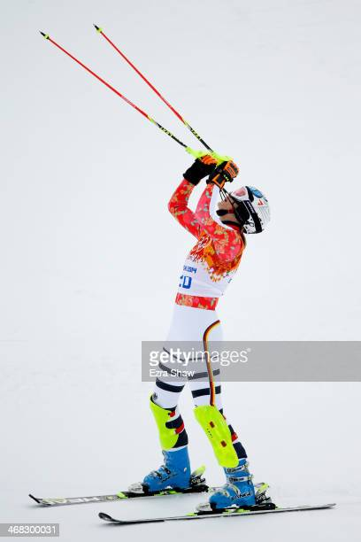 Maria HoeflRiesch of Germany reacts during the Alpine Skiing Women's Super Combined Slalom on day 3 of the Sochi 2014 Winter Olympics at Rosa Khutor...