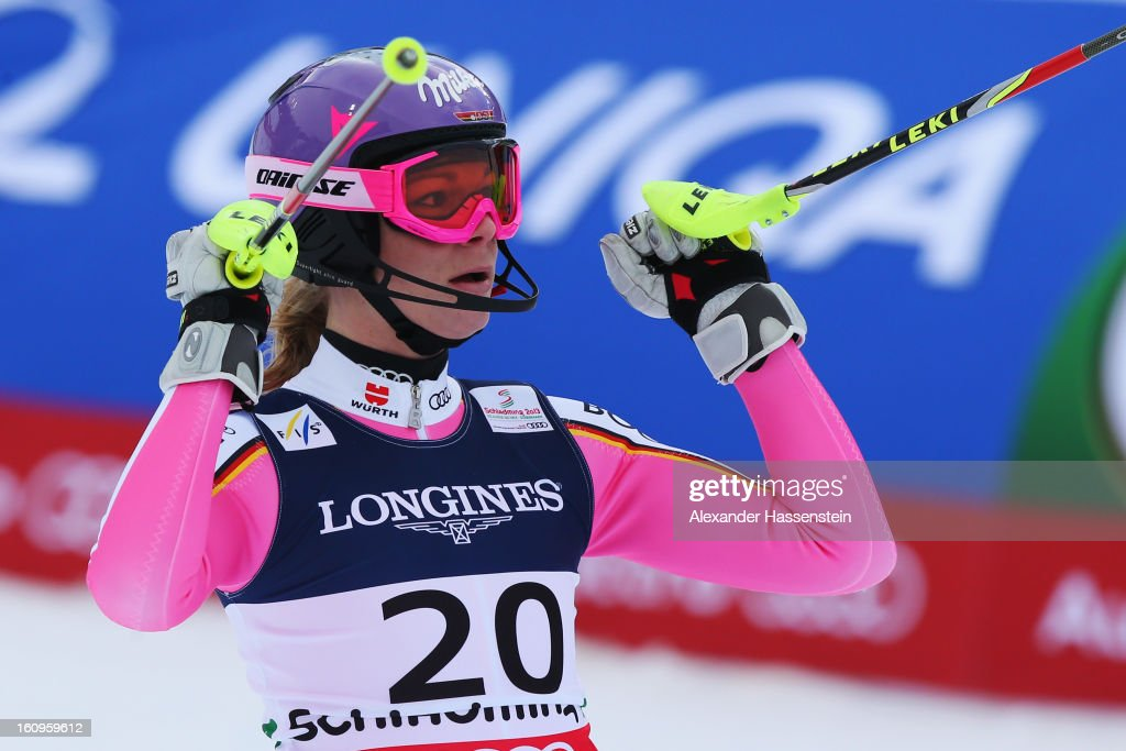 Maria Hoefl-Riesch of Germany reacts in the finish area after skiing into first position in the Slalom section of Women's Super Combined during the Alpine FIS Ski World Championships on February 8, 2013 in Schladming, Austria.