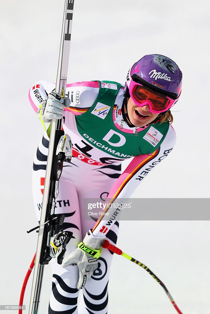 <a gi-track='captionPersonalityLinkClicked' href=/galleries/search?phrase=Maria+Hoefl-Riesch&family=editorial&specificpeople=7648886 ng-click='$event.stopPropagation()'>Maria Hoefl-Riesch</a> of Germany reacts in the finish area after skiing in the Women's Downhill during the Alpine FIS Ski World Championships on February 10, 2013 in Schladming, Austria.