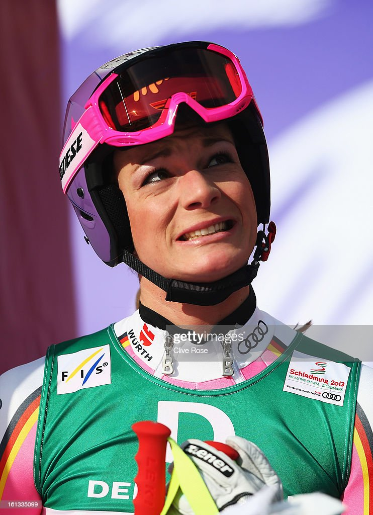 Maria Hoefl-Riesch of Germany reacts in the finish area after skiing in the Women's Downhill during the Alpine FIS Ski World Championships on February 10, 2013 in Schladming, Austria.