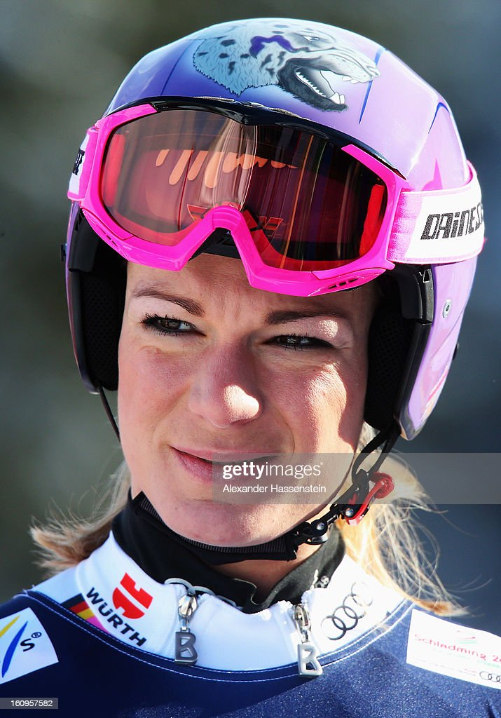Maria Hoefl-Riesch of Germany reacts in the start area before skiing in the Downhill section of the Women's Super Combined during the Alpine FIS Ski World Championships on February 8, 2013 in Schladming, Austria.
