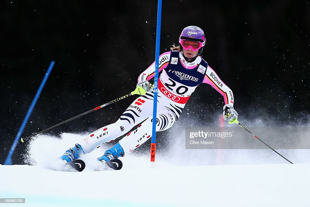 Maria Hoefl-Riesch of Germany skis in the Slalom section on her way to winning the Women's Super Combined during the Alpine FIS Ski World Championships on February 8, 2013 in Schladming, Austria.