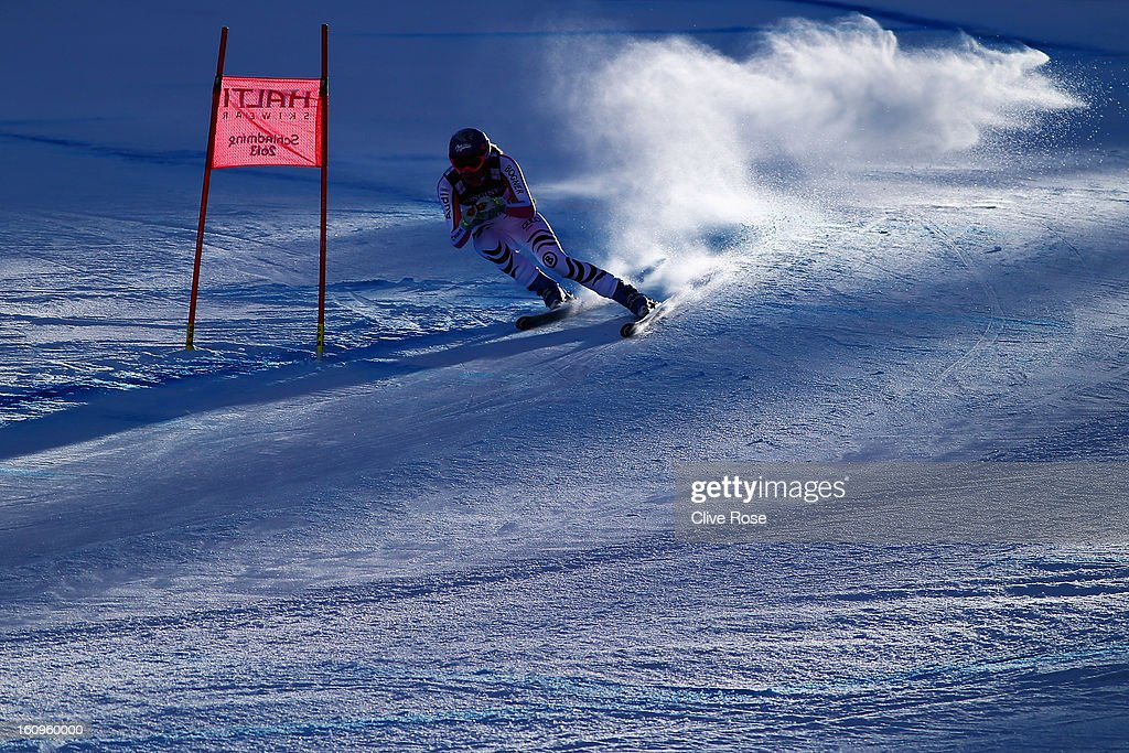 Maria Hoefl-Riesch of Germany skis in the Women's Super Combined during the Alpine FIS Ski World Championships on February 8, 2013 in Schladming, Austria.